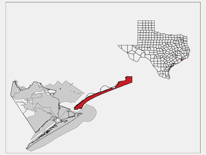 Bolivar Peninsula locator map
