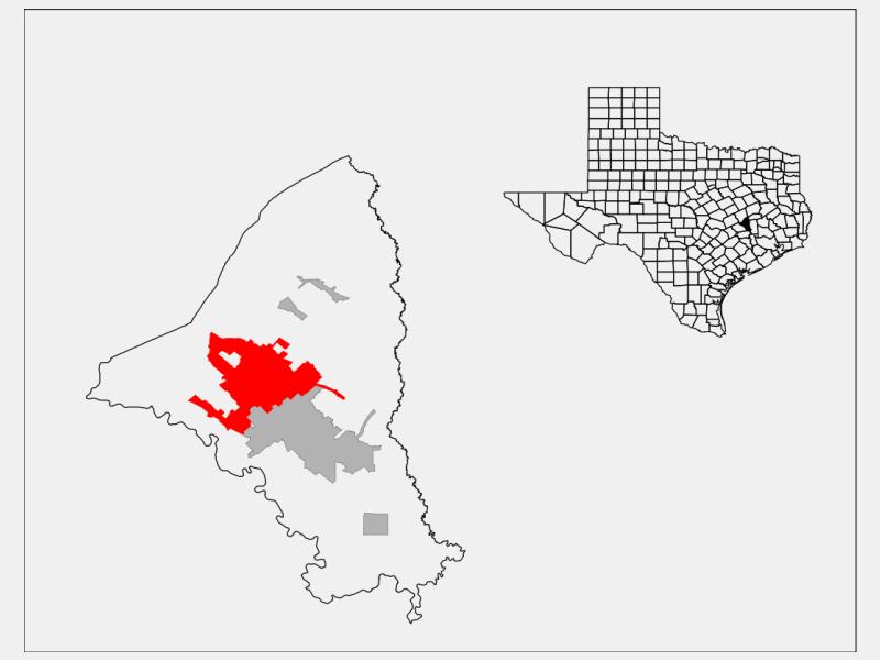 Bryan, TX locator map