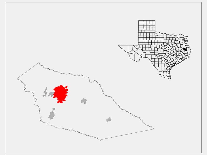 Lufkin, TX locator map