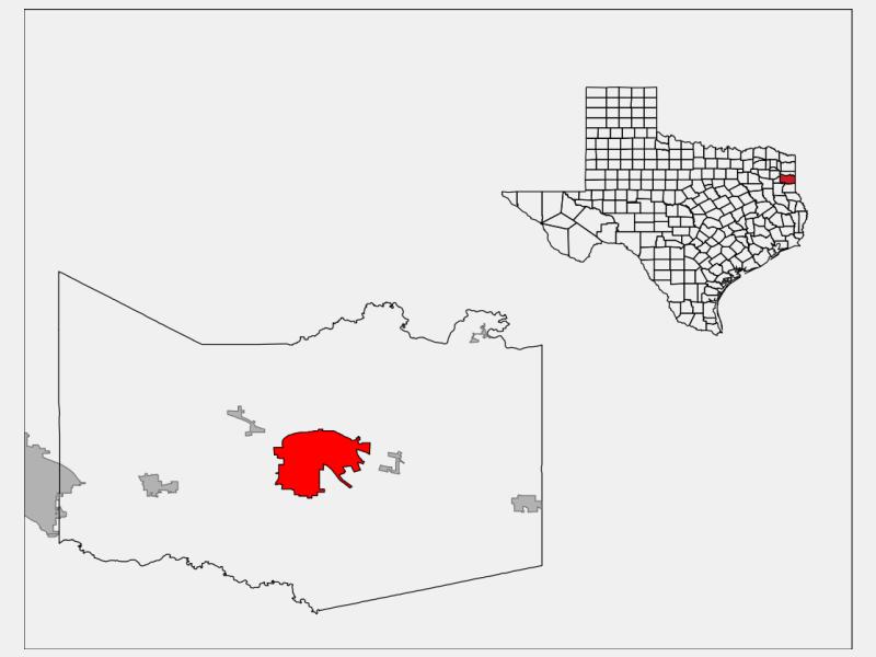 Marshall, TX locator map