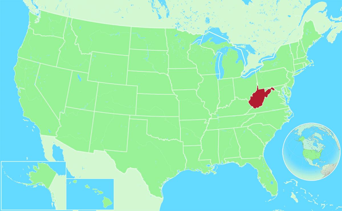 West Virginia locator map