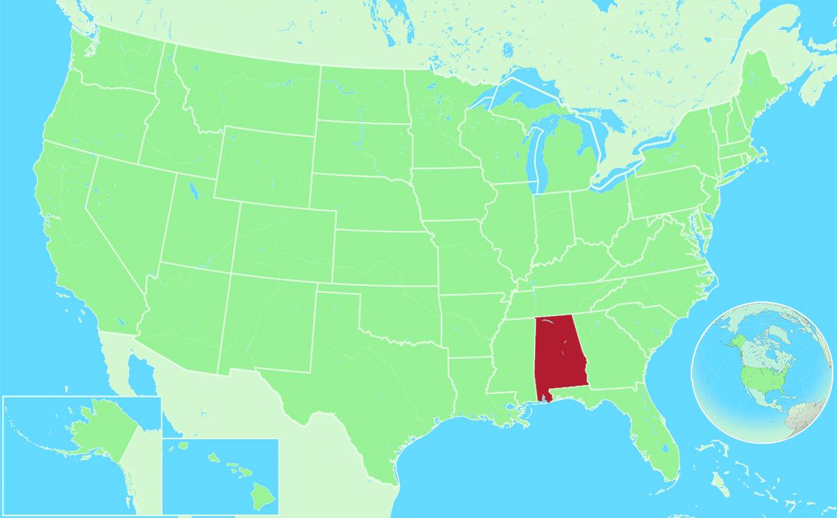Alabama locator map