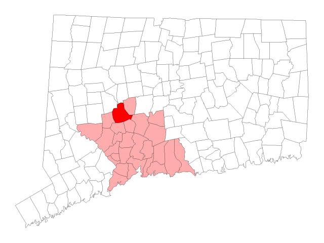 Waterbury locator map