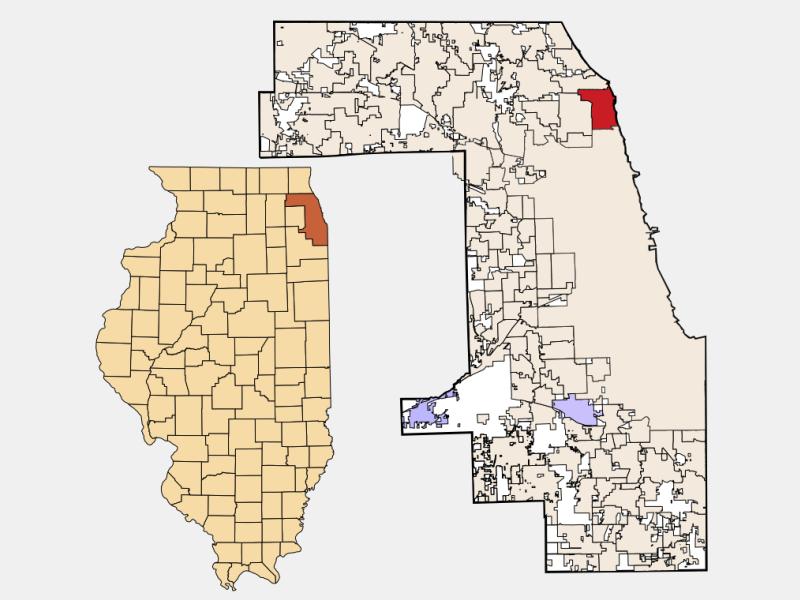 Evanston locator map
