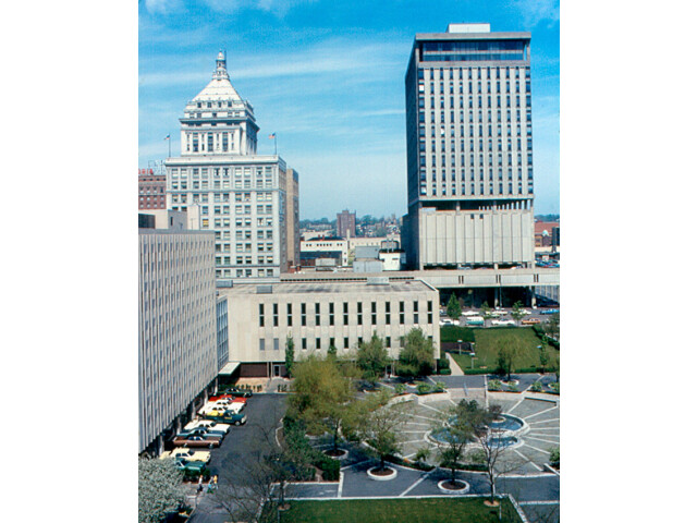 Peoria - Downtown from Caterpillar  Courthouse Square  First National Bank and Savings Tower image