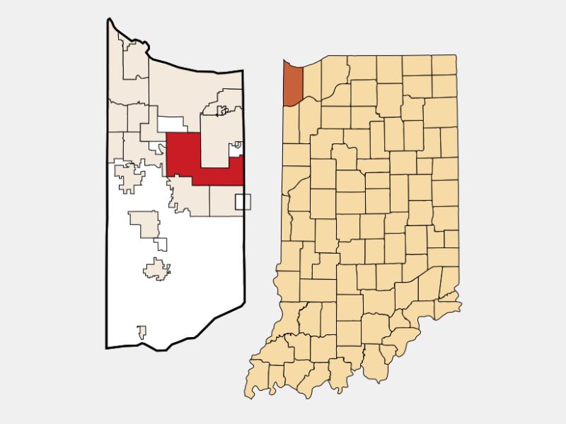 Merrillville locator map