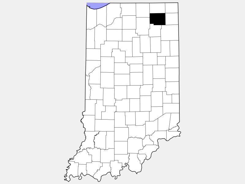 Noble County locator map