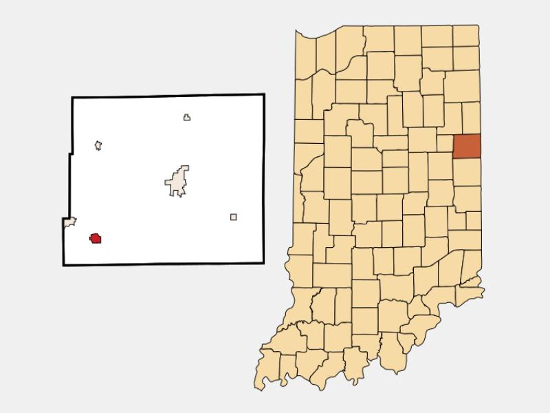 Redkey locator map