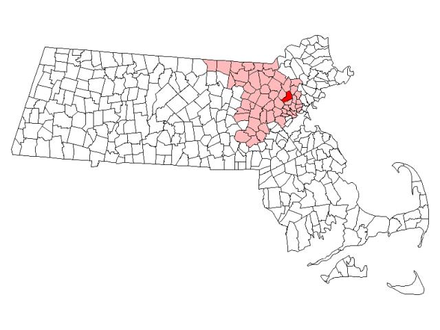 Woburn locator map