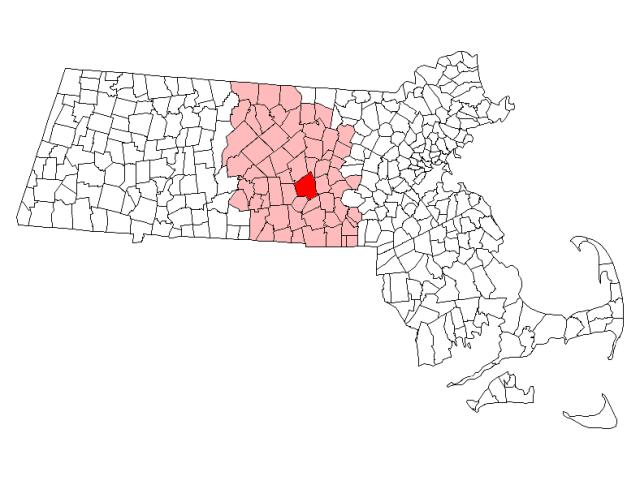 Worcester locator map
