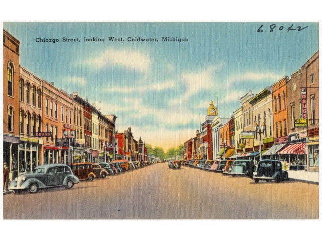 Chicago Street  looking west  Coldwater  Michigan '68042' image