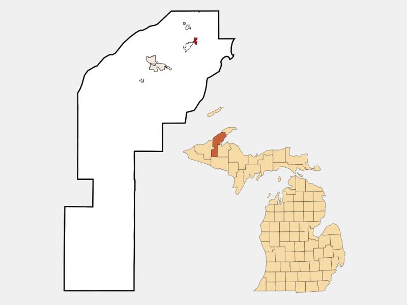 Lake Linden locator map