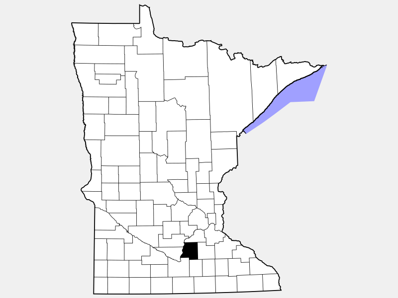 Le Sueur County locator map