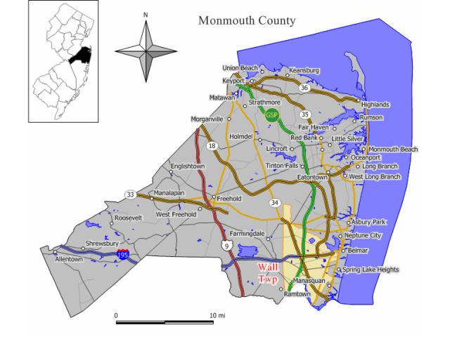 Wall Township locator map