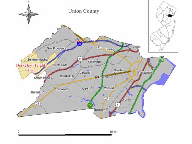 Berkeley Heights locator map