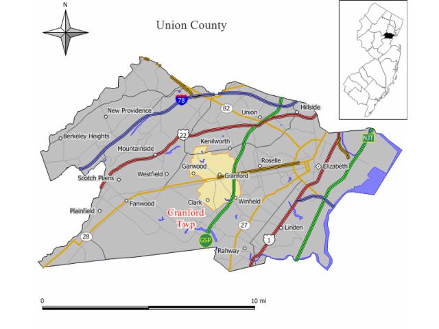 Cranford locator map