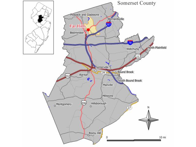 Far Hills locator map