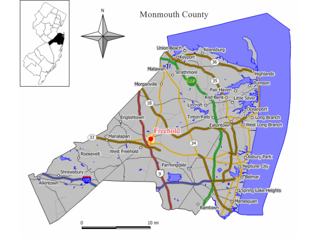 Freehold locator map