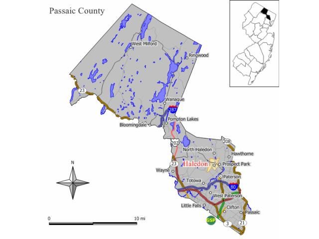 Haledon locator map