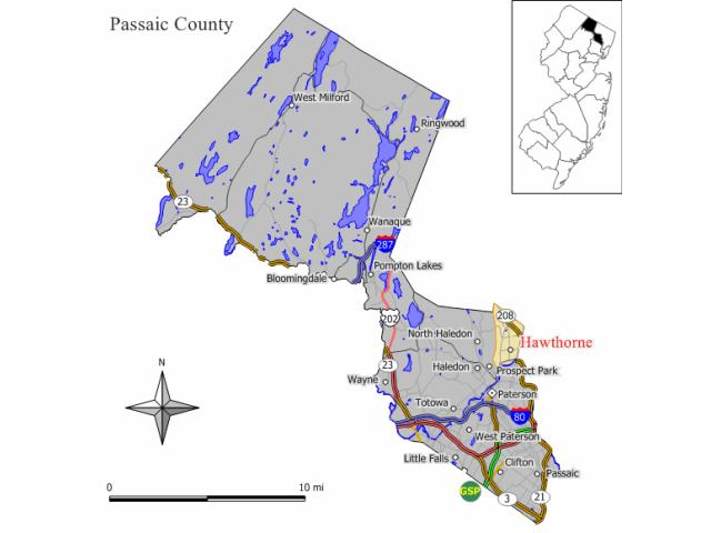 Hawthorne locator map