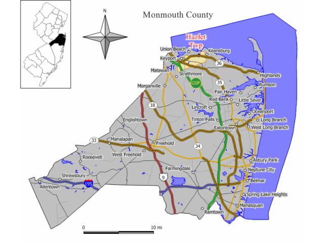 Hazlet locator map