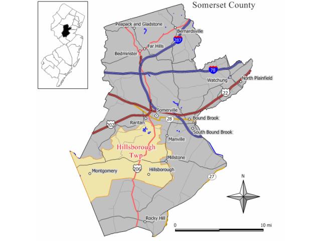 Hillsborough location map
