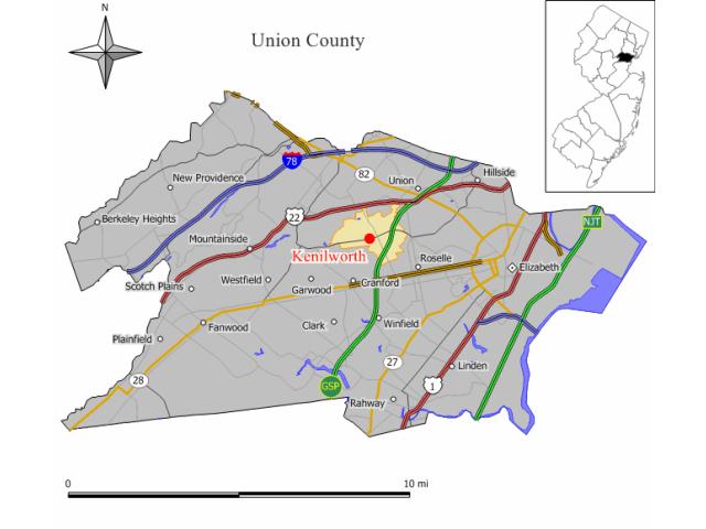 Kenilworth locator map