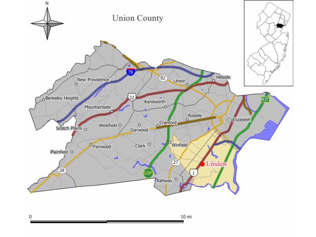 Linden locator map