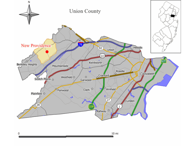 New Providence locator map
