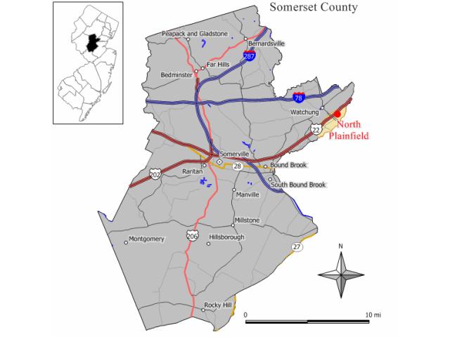 North Plainfield locator map