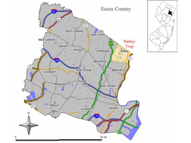 Nutley locator map