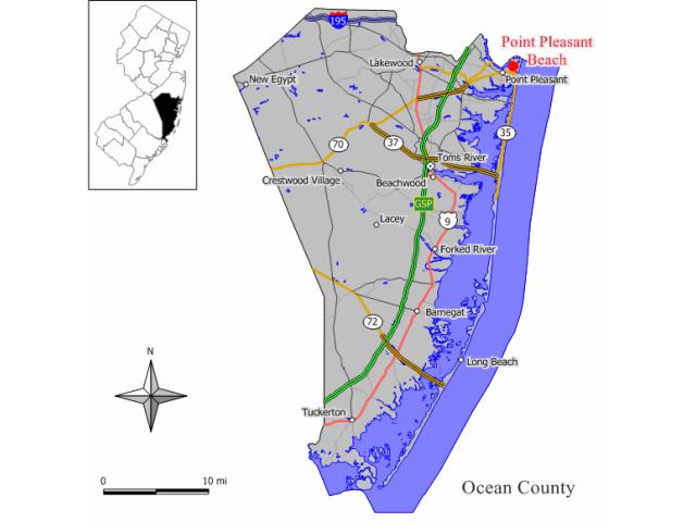 Point Pleasant Beach locator map