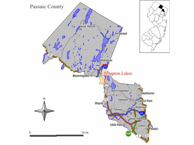 Pompton Lakes locator map