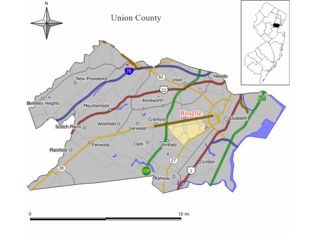 Roselle locator map