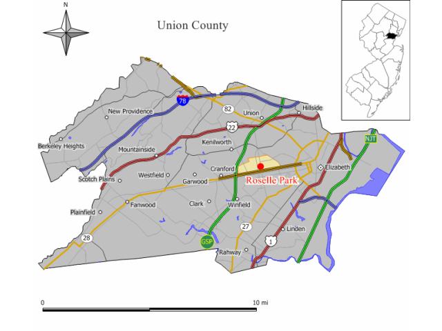 Roselle Park locator map