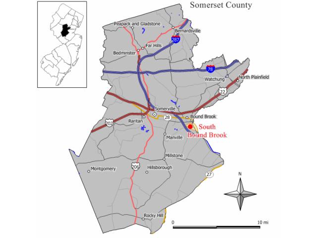 South Bound Brook locator map