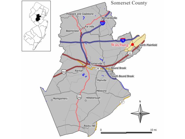 Watchung locator map