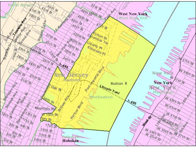Weehawken locator map