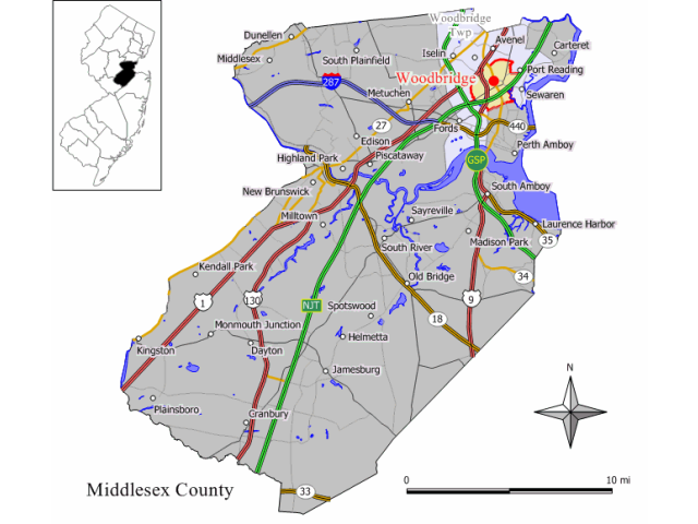 Woodbridge, NJ locator map