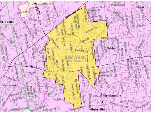 Centereach locator map