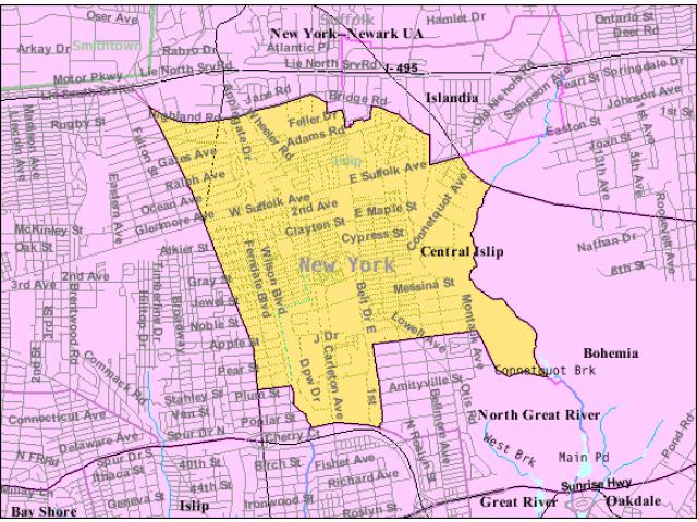 Central Islip locator map