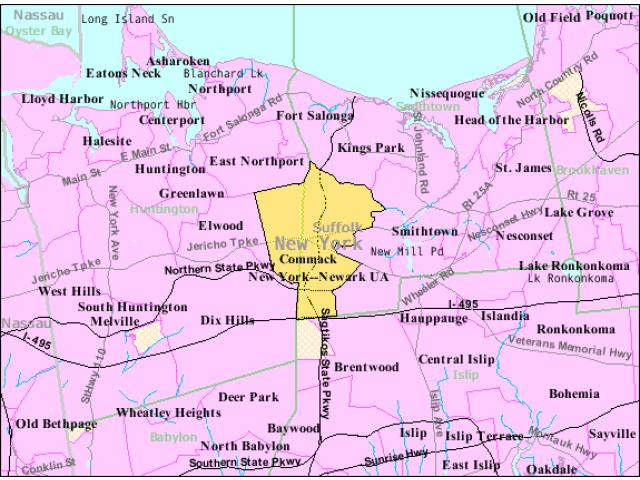 Commack locator map