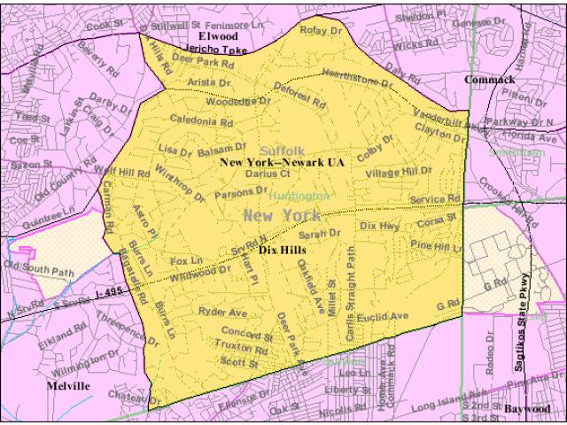 Dix Hills locator map