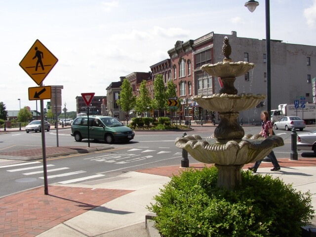 Downtown Glens Falls New York roundabout image