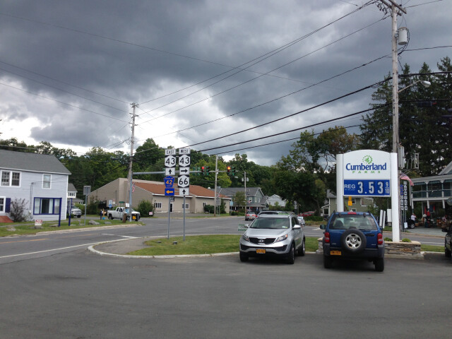 2014-08-28 13 23 29 Intersection of West Sand Lake Road 'New York State Route 43'  Miller Hill Road 'New York State Route 66' and Taborton Road 'Rensselaer County Route 42' in Sand Lake  New York image