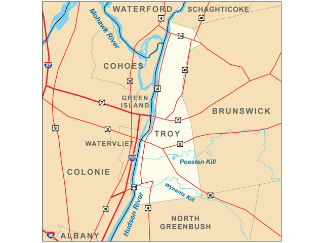 Troy, NY locator map