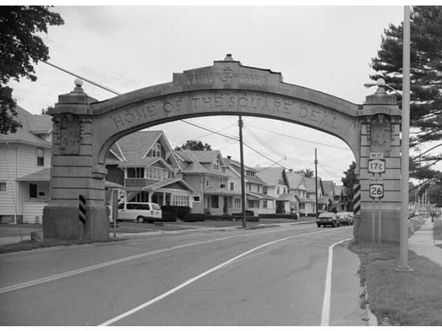Endicott-Johnson Workers Arch  approximately 250%27 east of intersection of Bridge  Endicott 'Broome County  New York' image