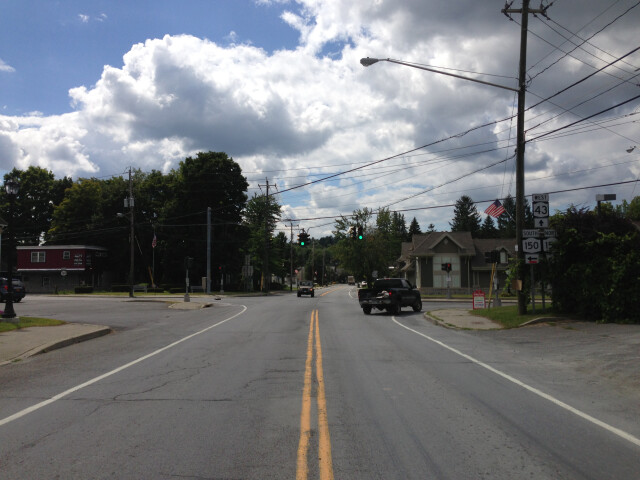 2014-08-28 13 36 57 View west along New York State Route 43 at New York State Route 150 in the West Sand Lake section of Sand Lake  New York image