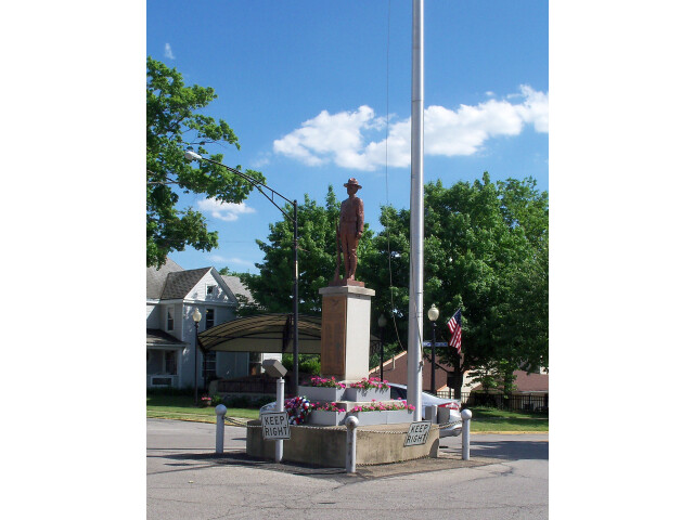 Doughboy statue in roundabout  Doylestown  Ohio image