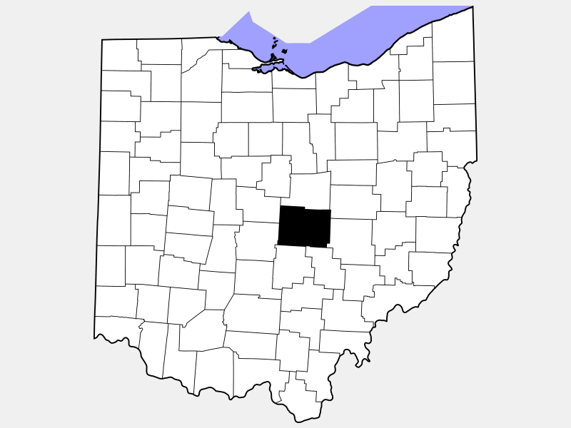 Licking County locator map